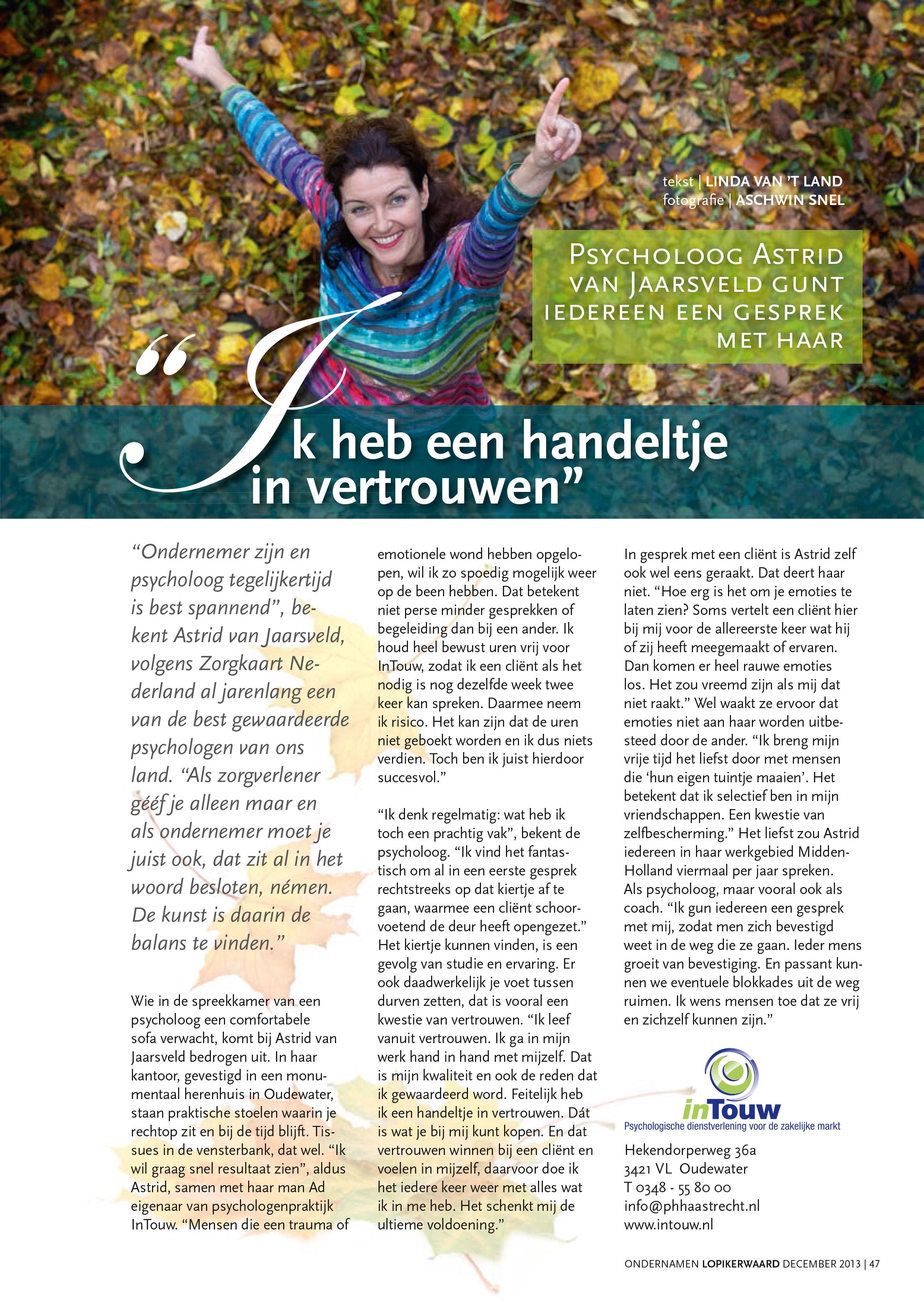 Astrid van Jaarsveld Interview Handel in Vertrouwen