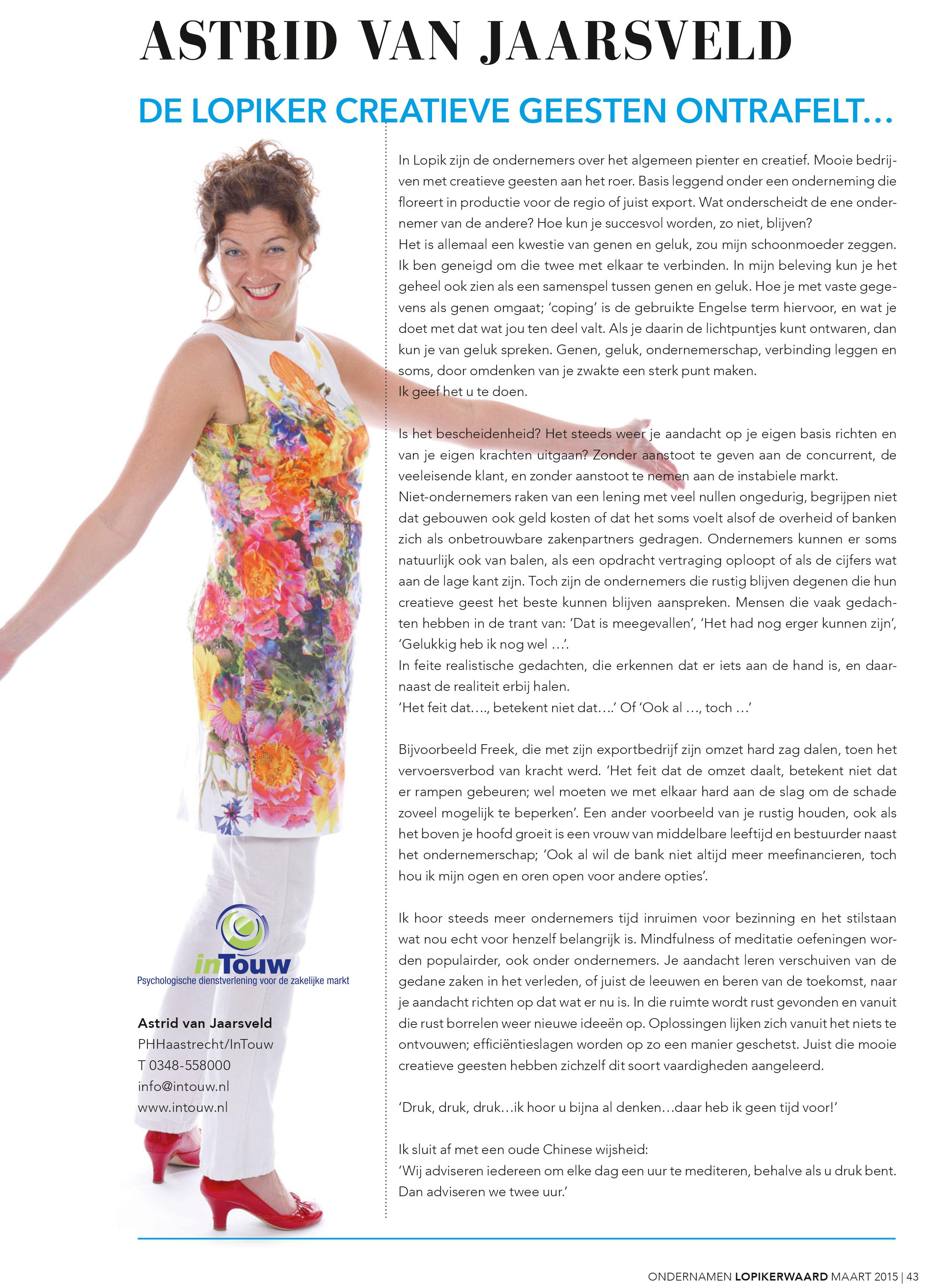 Column Astrid van Jaarsveld De lopiker creatieve geest ontrafelt