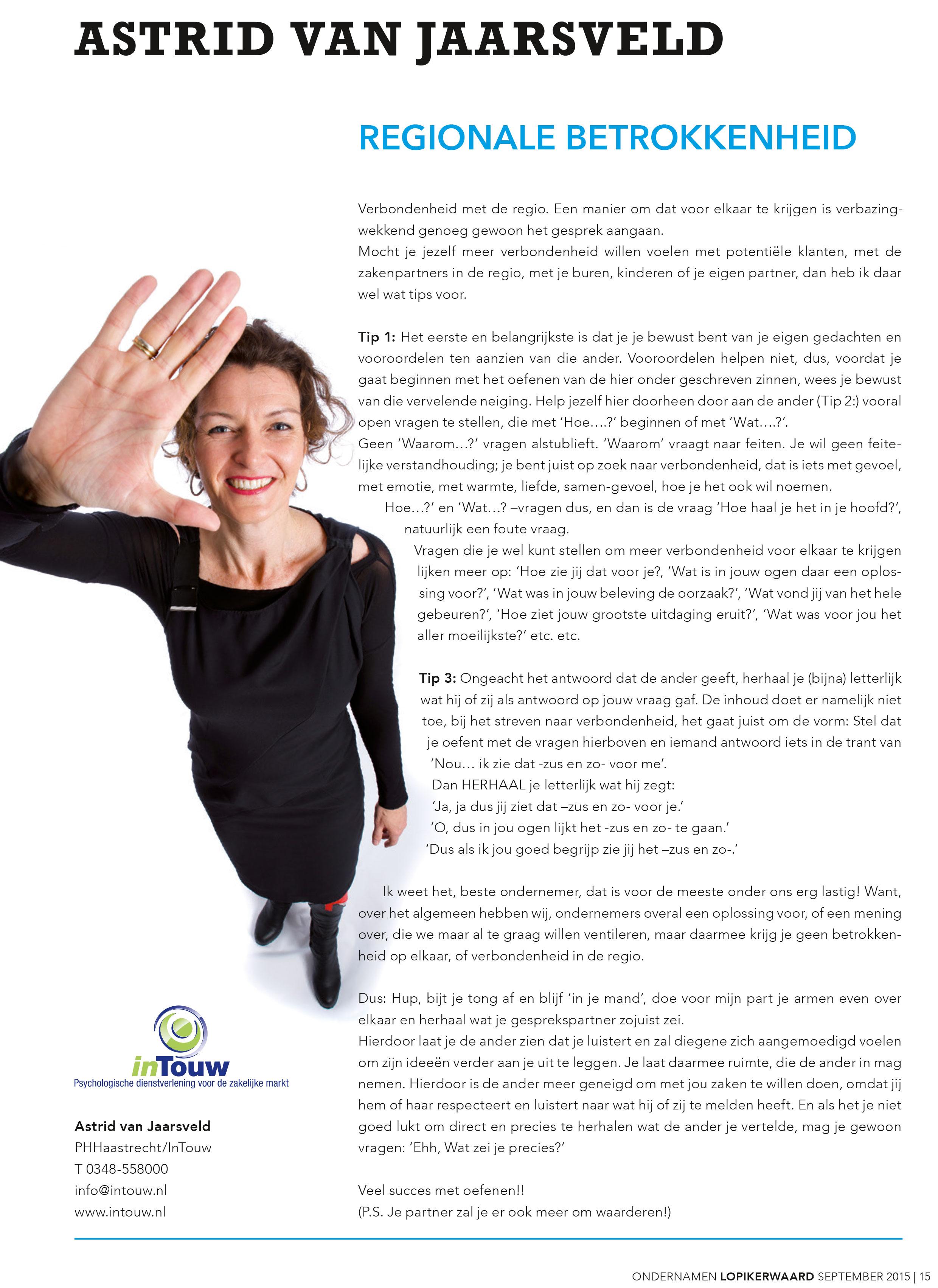 Column Astrid van Jaarsveld Regionale Betrokkenheid