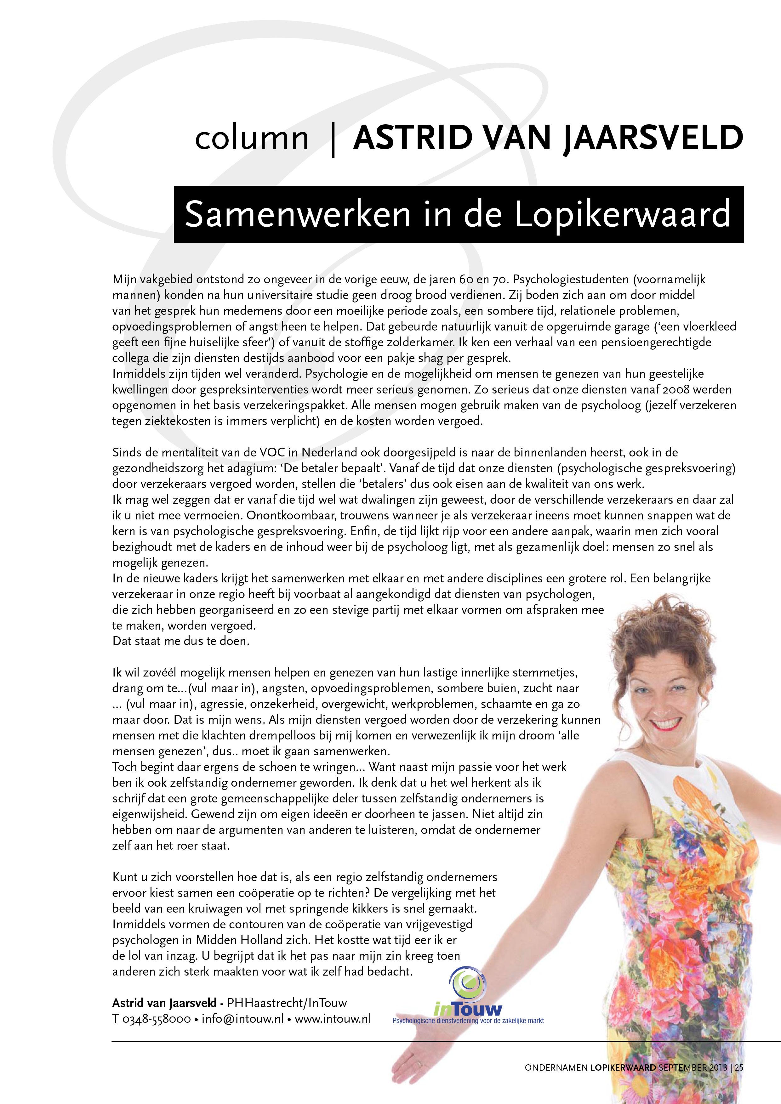Column Astrid van Jaarsveld Samenwerken in de Lopikerwaard