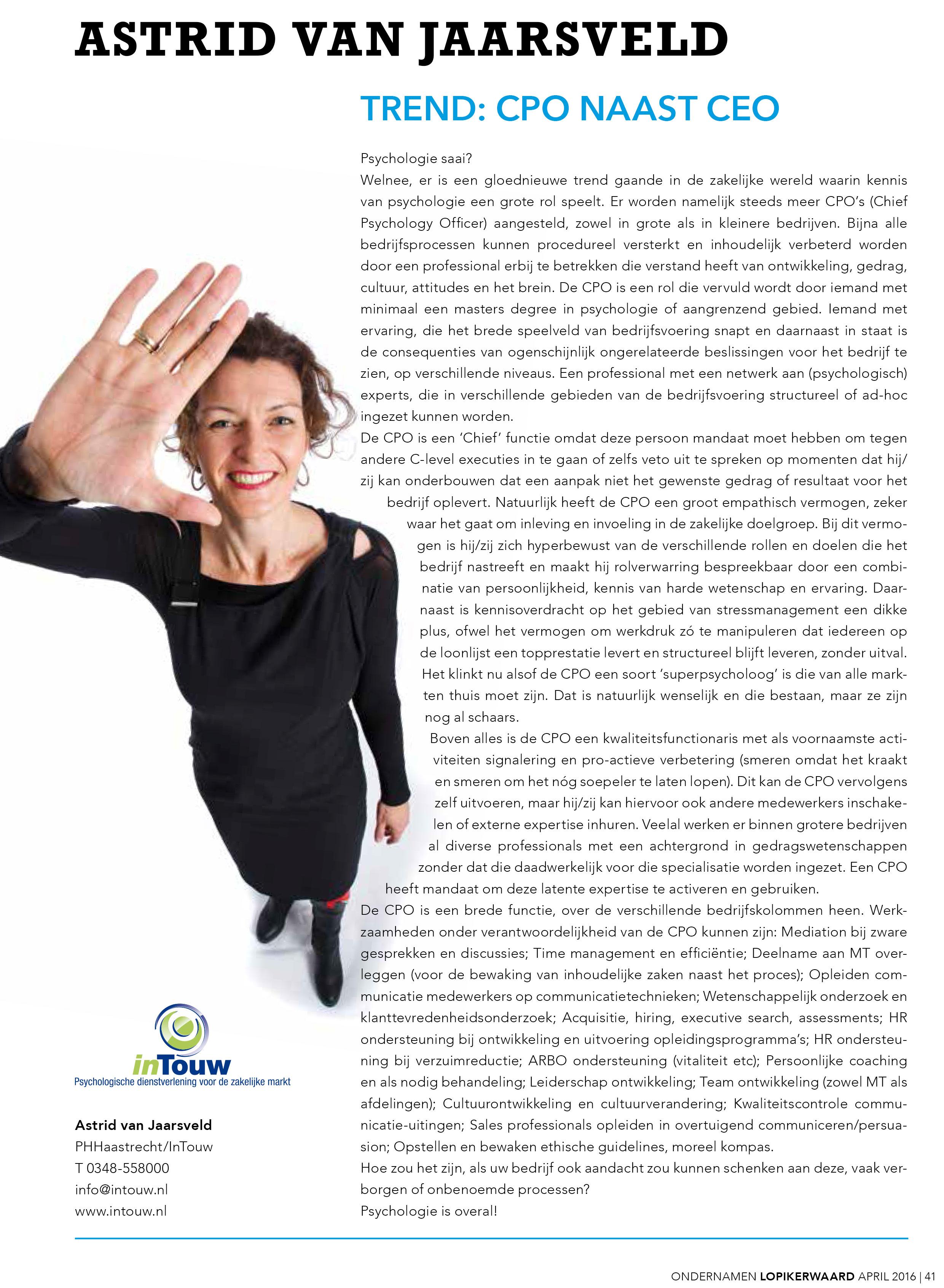 Column Astrid van Jaarsveld Trend CPO naast CEO