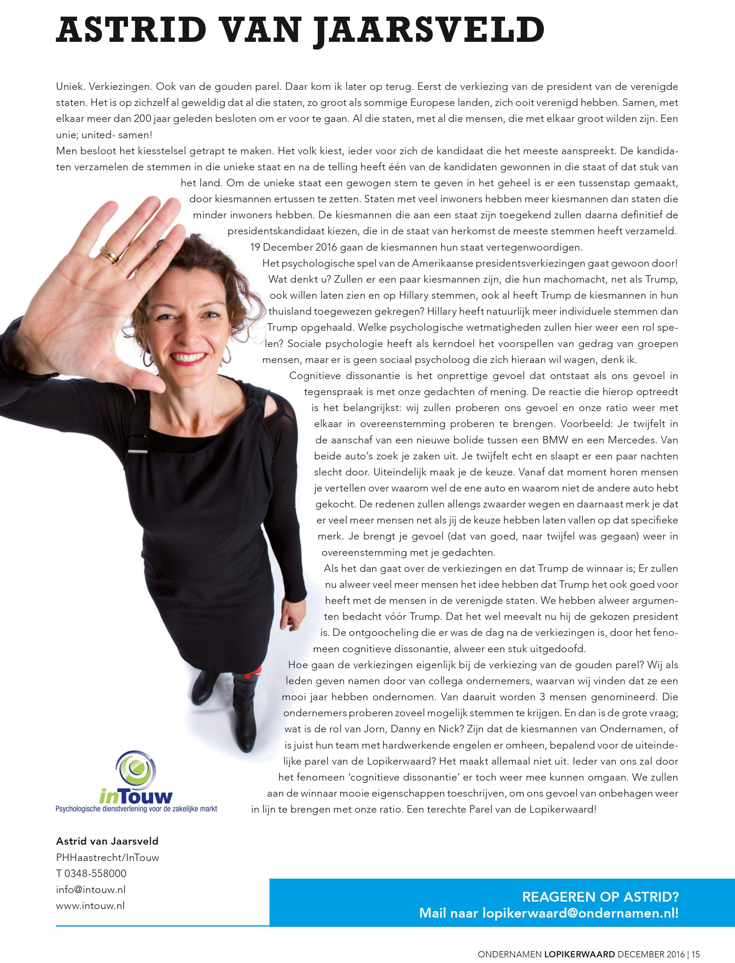 Column Astrid van Jaarsveld Verkiezingen