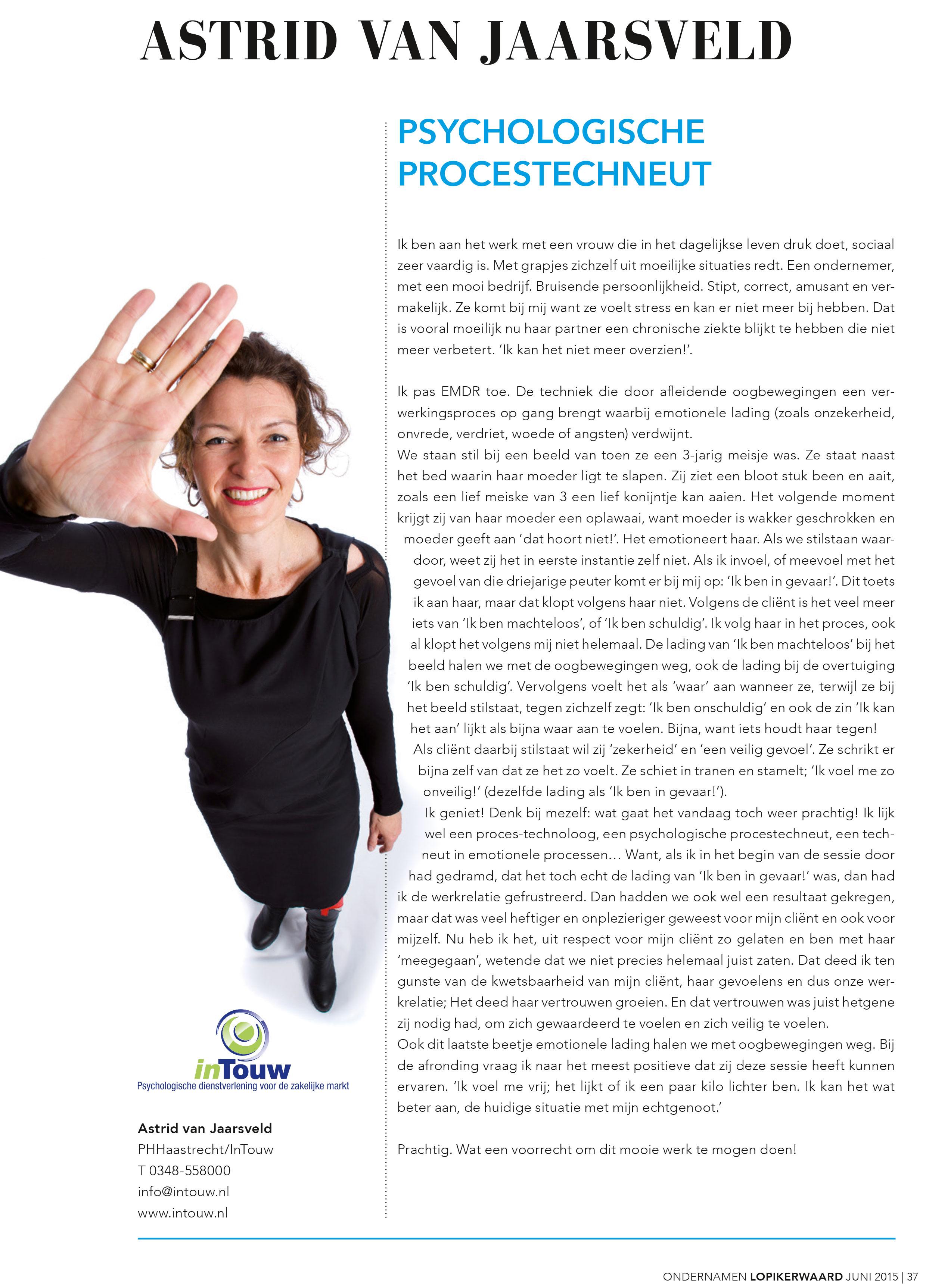 Column Astrid van Jaarsveld psychologische procestechneut